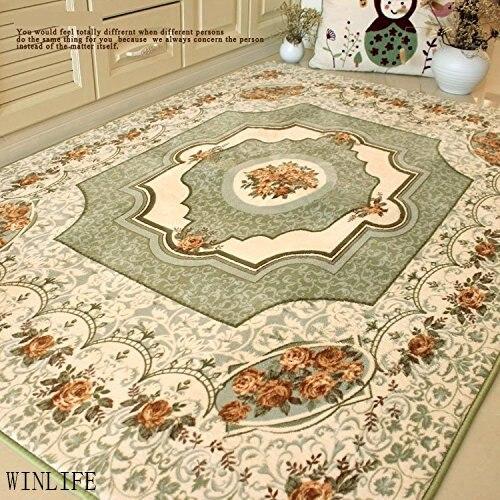 WINLIFE tapis chambre rustique européen Roses méditerranéennes tapis chambre moderne grands tapis Beige