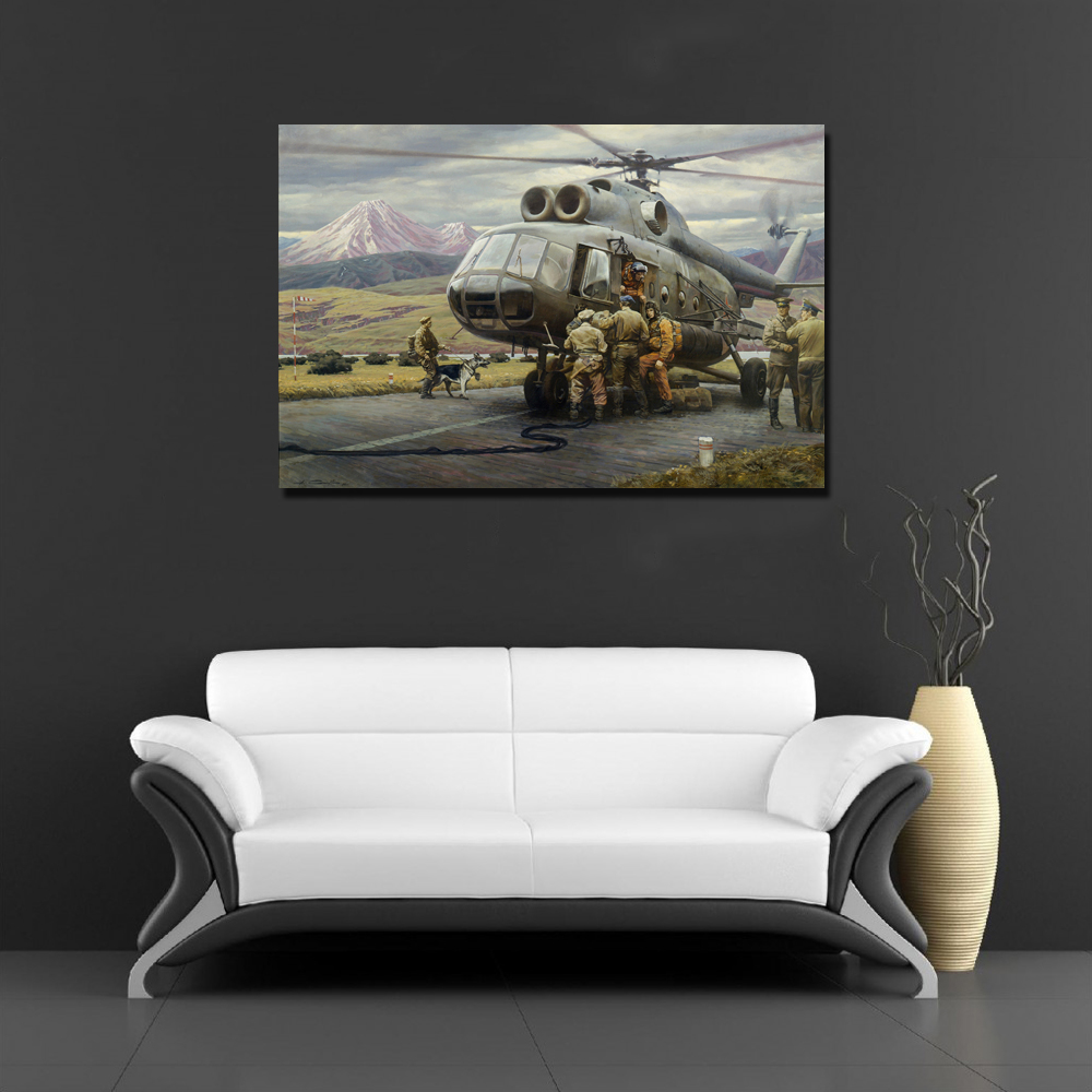 online shop world war ii military helicopter painting canvas