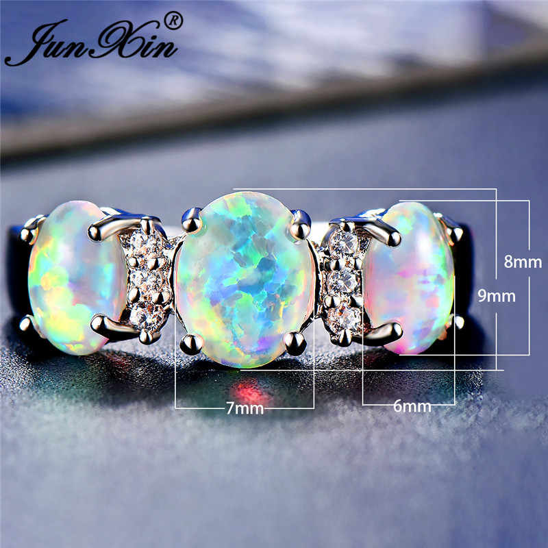 JUNXIN Luxury หญิง Big หินโอปอลแหวนเงินแท้ 925 สายรุ้งคริสตัลแหวน