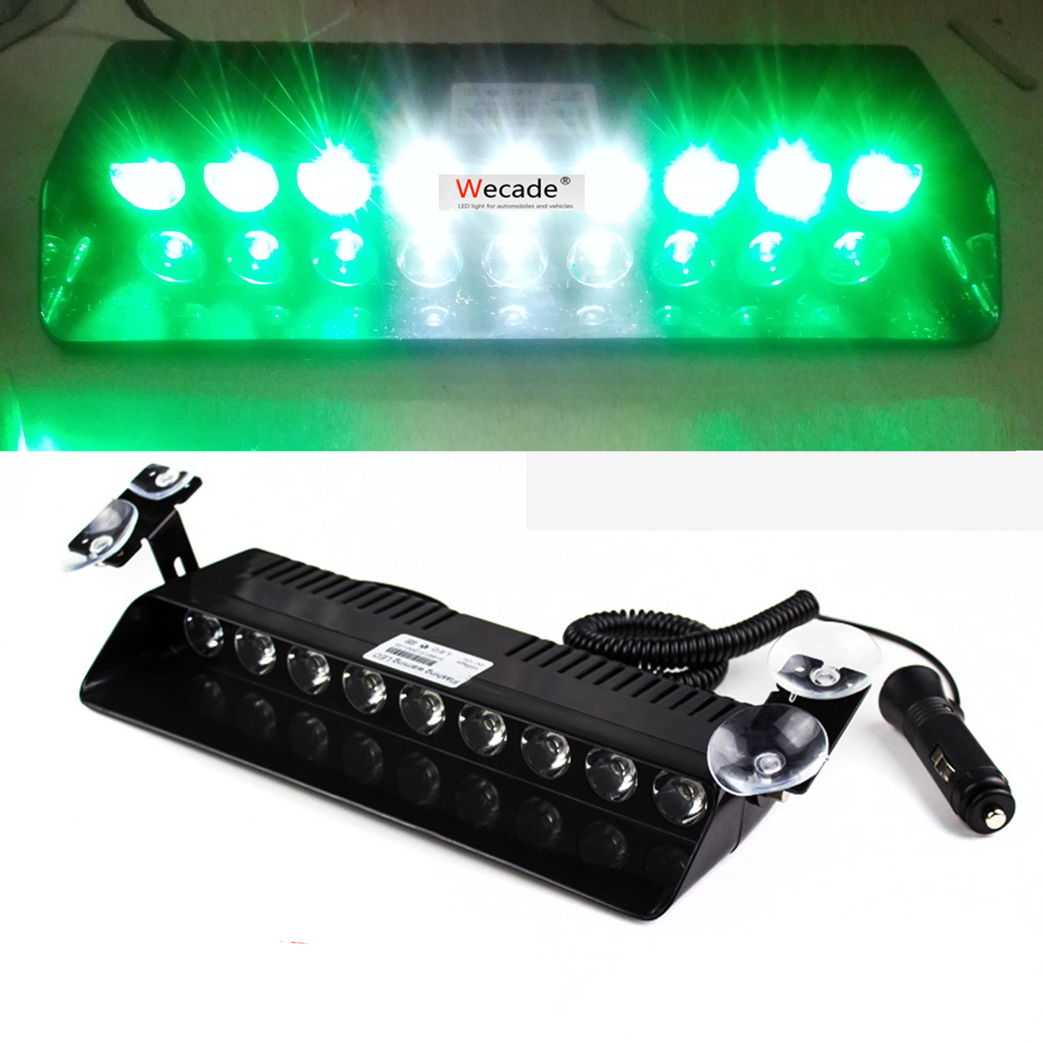 9-LED Car Truck Strobe Windshield Dash Beacon Light Hazard Warning Green White Green