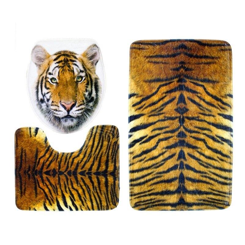 3 unids/set tigre Impreso de Baño Tapa Del Inodoro Alfombra Antideslizante Estab