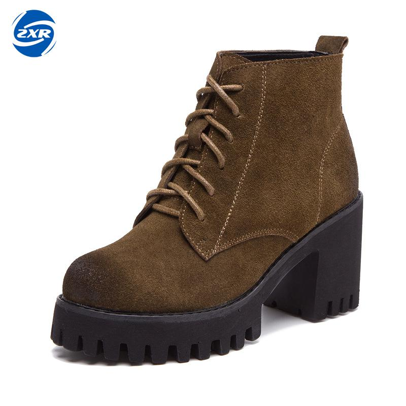 Vintage Style Women Boots High Heel Woman Ankle Boots Suede Genuine Leather Platform Shoes Thick Heels Lace-up Martin Boots qiu dong in fashionable boots sexy and comfortable women s shoes the new national style high heel heel thick heel