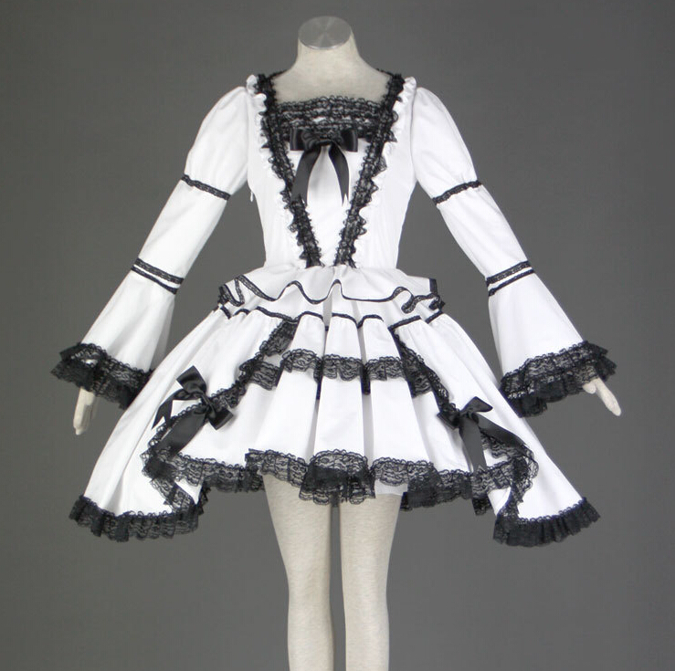 Classic Lolita White Dress with Black Lace Long Sleeves Vintage Girls Lovely Cosplay Costumes High Quality MR0190