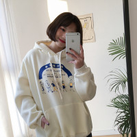 2 colors autumn and winter loose cartoon print plus velvet thicking hoodie sweatshirt womens (F476)