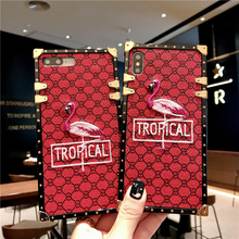 цена на Cute Embroidery Phone Case For iPhone 6 6s Plus X XS Max XR Luxury Flamingo Back Cover For iPhone 7 8 Plus Square Mobile Shell