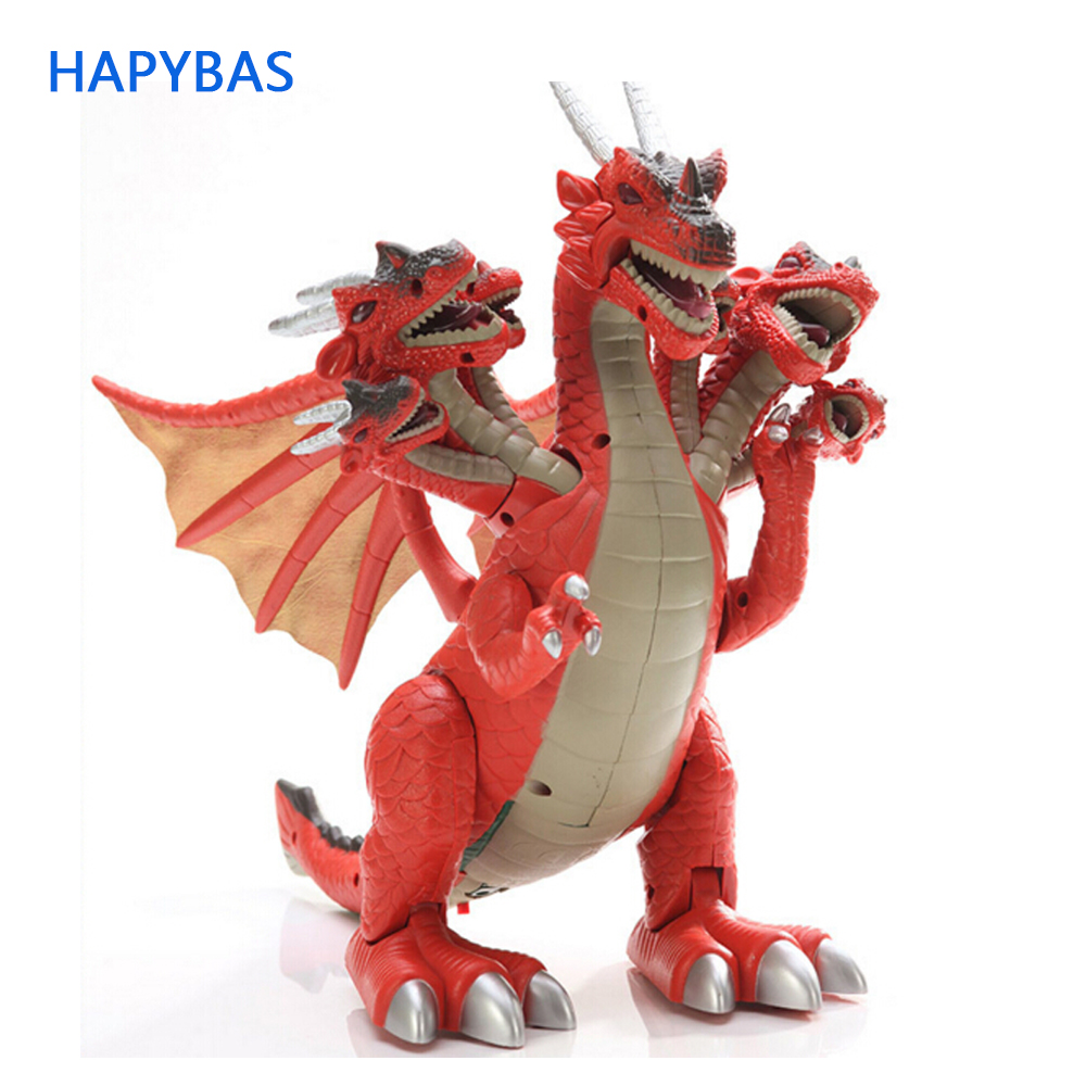 New Product Boy Love Dinosaur With 7 Head ChildrenToys Simulation Model Electric Plastic Big  Dinosaur Model Toy