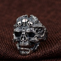 925 Sterling Silver Skull Open Ring for Men Vintage Adjustable Rock Punk Fashion Jewelry gift for your boyfriend Free Shipping