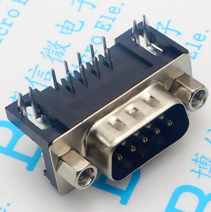 30pcs DB9 connector DR9 male DR-9 90 looper Serial DB9 male connector RS232 9 horizontal core card 12x serial port connector rs232 dr9 9 pin adapter male