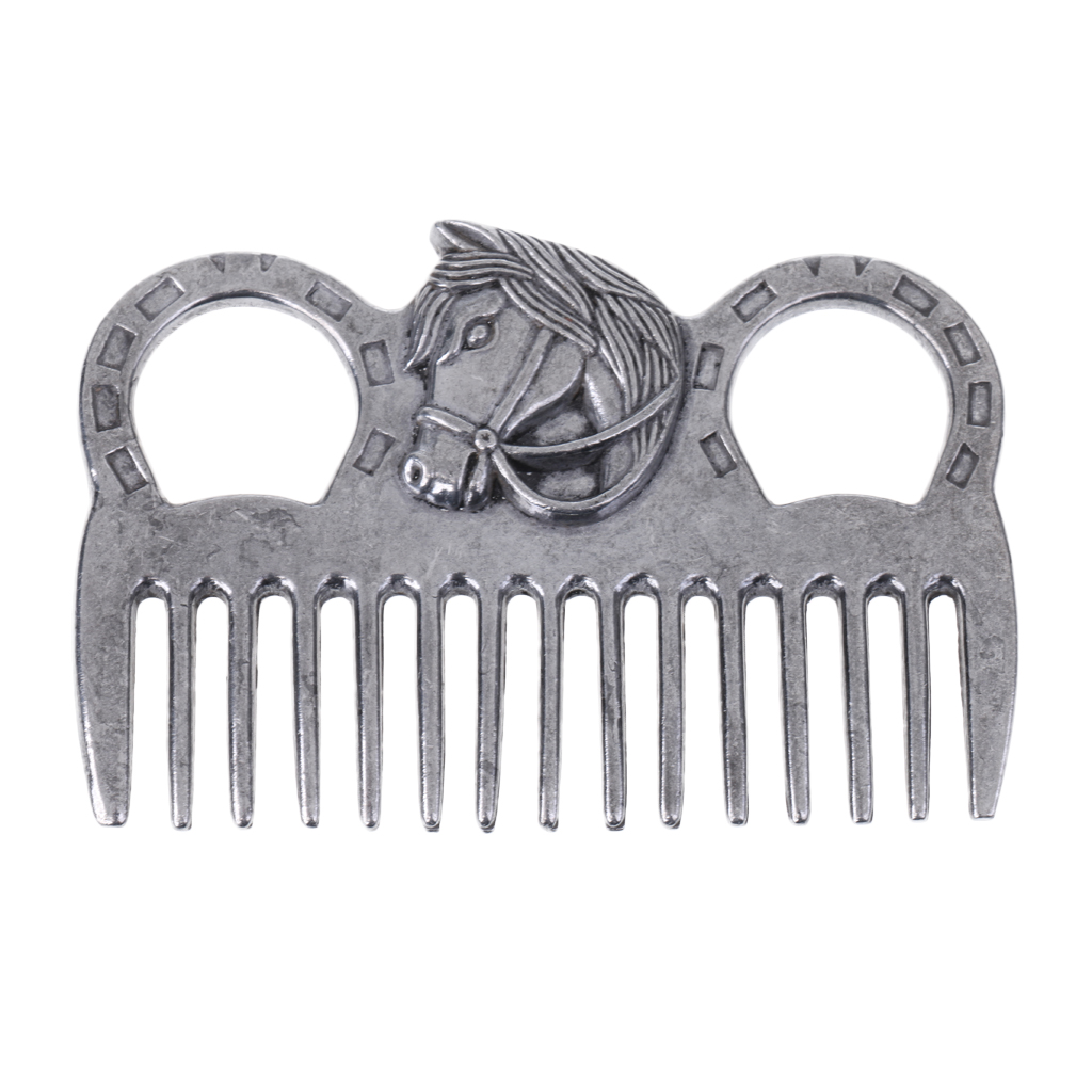 Professional Stainless Steel Polished Horse Grooming Comb Tool Currycomb Accessory Equipment For Horse Care Products Silver