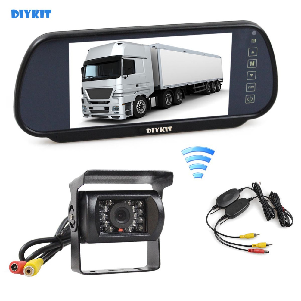 DIYKIT Wireless 12VDC 7inch HD Mirror Monitor Car Monitor Waterproof CCD Rear View Car Camera for Truck Caravan Bus Van все цены