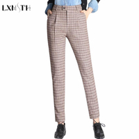 LXMSTH Autumn Winter Women Wool Pants Slim Vintage British Style Plaid Classic Trousers Female Thick Warm Causal Pants Plus Size