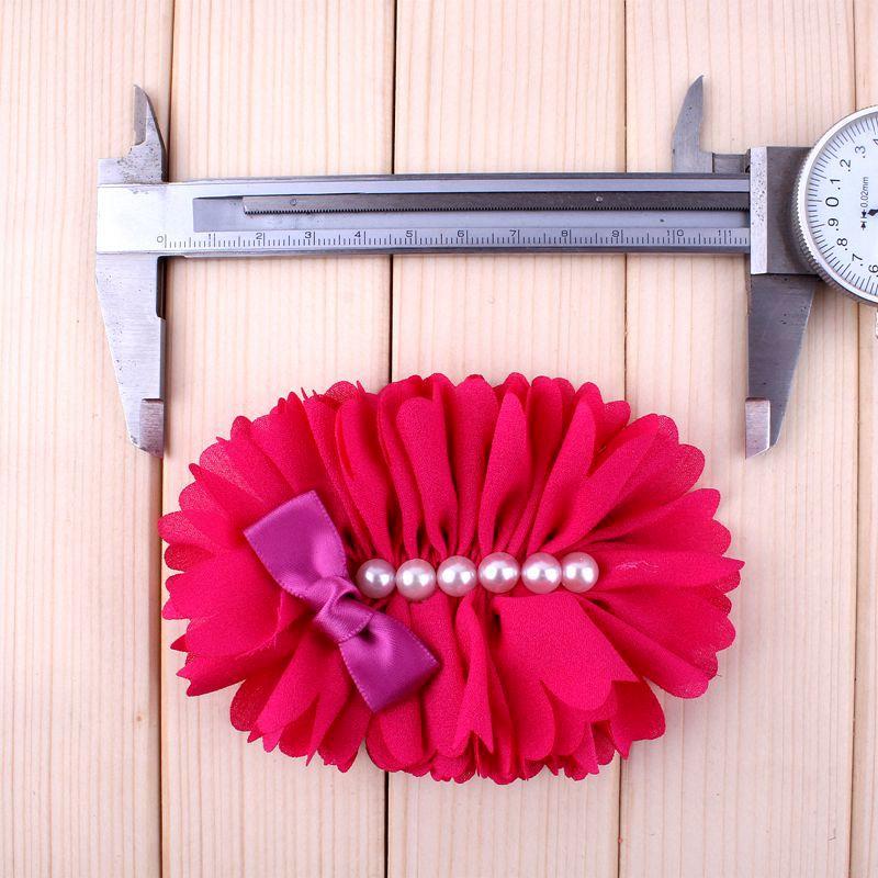 Image 3 - 120pcs 7 Colors Chiffon Flower With Six Pearl And Mini Satin Bow  Headband Accessories Flat Back Flower For Headbandflowers for  headbandschiffon flowersheadband accessories