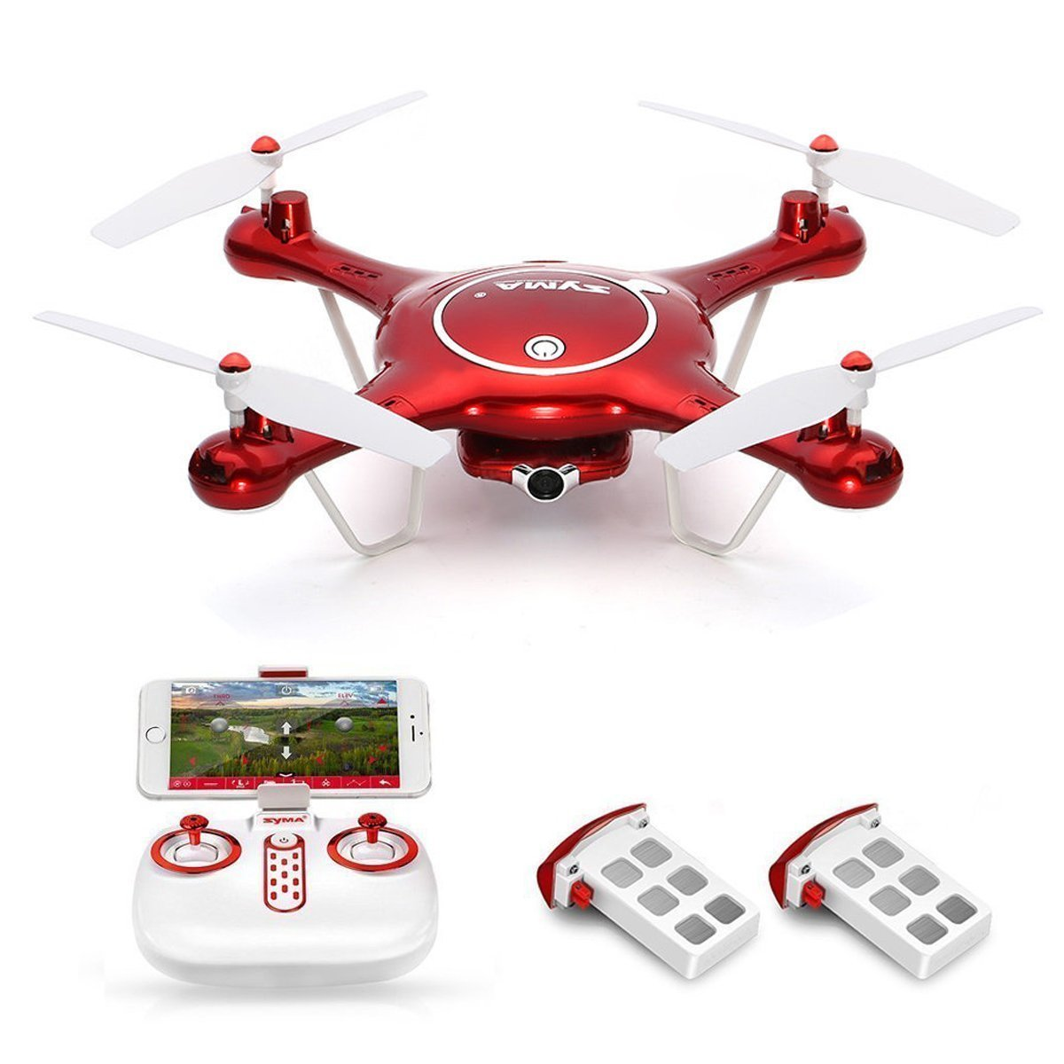 Syma X5UW Wifi FPV Drone with 720P HD Camera Live Video, Barometer Set Height, H/L Speed+ 2pcs Extra Battery RTF RC Quadcopter original syma x8sw wifi fpv hd camera drone 2 4g 4ch 6 axis rc quadcopter with barometer set height mode rtf toys