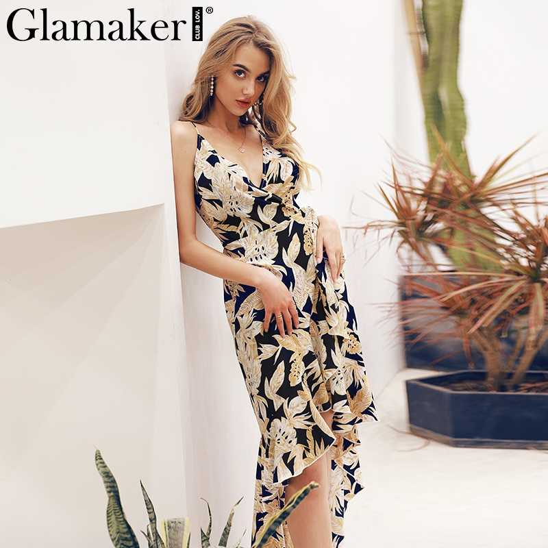 effa099eb24 Glamaker V neck sexy vintage summer dress Women sleeveless beach holiday  dress Elegant club party maxi