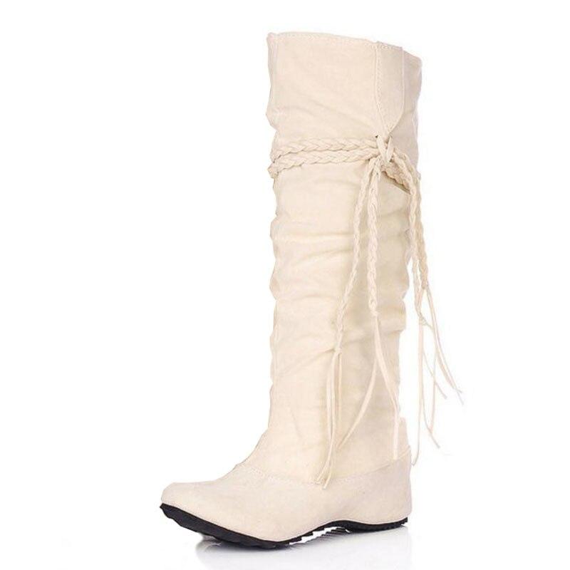 KemeKiss женская обувь на плоской подошве пикантные сапоги зимние теплые сапоги Качественная и модная обувь; теплая обувь; botas feminina P8396 размер 34-43 - Цвет: Бежевый