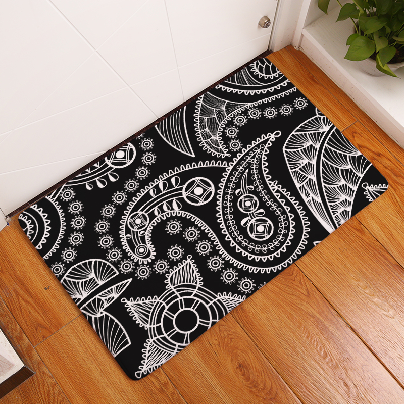 Homing Light Thin Flannel Welcome Home Door Mats Golden Cashew Flowers Geometry Pattern Anti-skid Water Absorption Bedroom Rugs