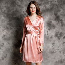 Sexy Women Silk Robe Summer Simple Nightdress 100% Natural Long Sleeve Bathrobes Top Quality Sleepwear Lounge P9936