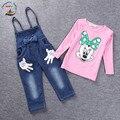 2016 новый малыш комплект футболку + брюки джинсовые комбинезоны костюм новорожденных девочек мальчик дети одежда 2 - 7 лет розница и опт 151210