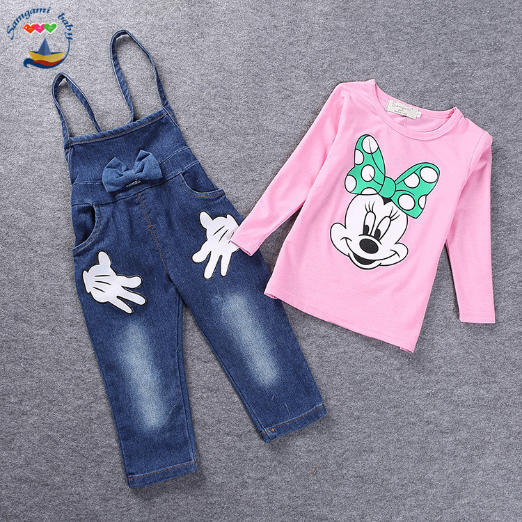 2016 new Kid set T-shirt+pants Denim Overalls Suit baby Girls boy  Children Clothing 2-7 years Retail and wholesale 151210