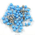 2016 popular blue stripe resin bead catholic rosary