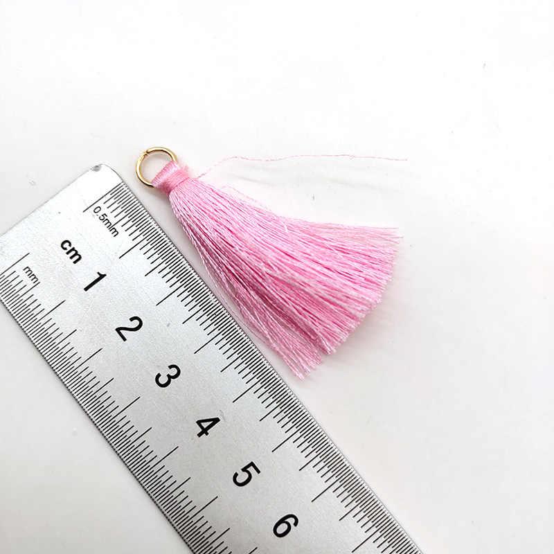 Оптовая продажа 10 шт 4 см/2 дюйма шелковистые ручной работы мягкие ремесленные мини-кисточки с петлями для изготовления ювелирных изделий, DIY проекты, закладки