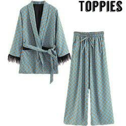 2019 Новое поступление синий печатных кимоно куртка с перо рукава широкие брюки свободные Cuasal мотобрюки для женщин Винтаж костюмы