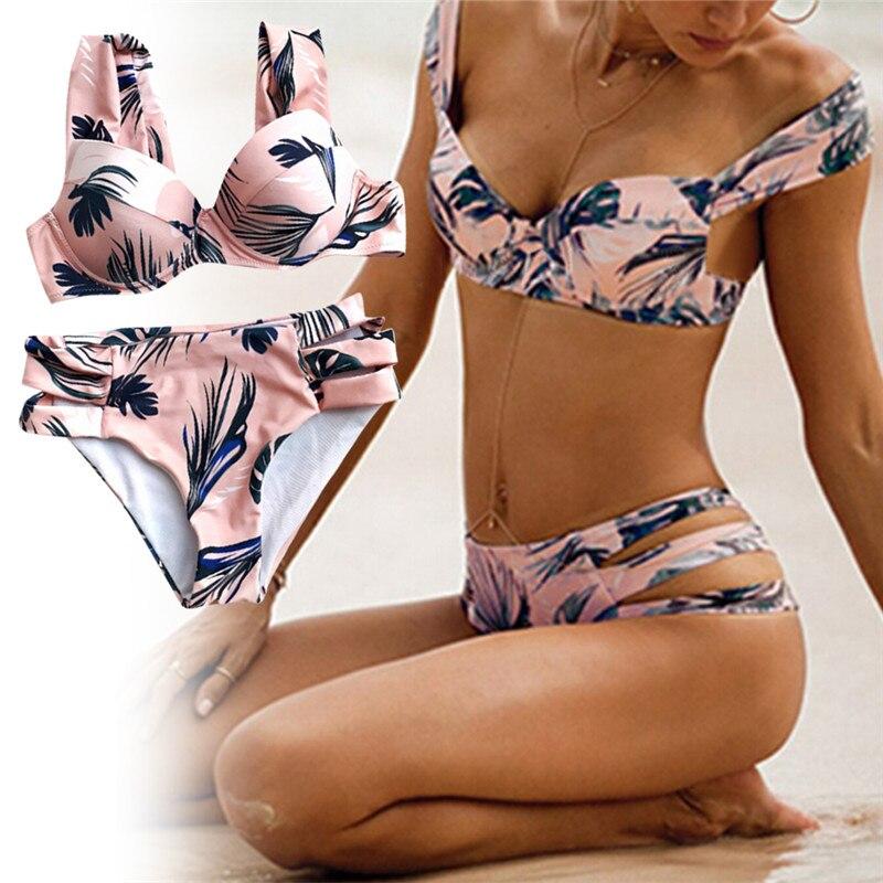Elegant Summer Womens Sexy Bikini Green Leaf Feather Bra Set Fashion Off Shoulder Padded Bra Swimwear Set