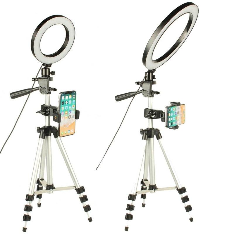 LED Ring Licht Kamera Fotografie Ringförmige Lampe Studio Ringlight für Youtube Make-Up Telefon Selfie mit Stativ Telefon Halter Clip