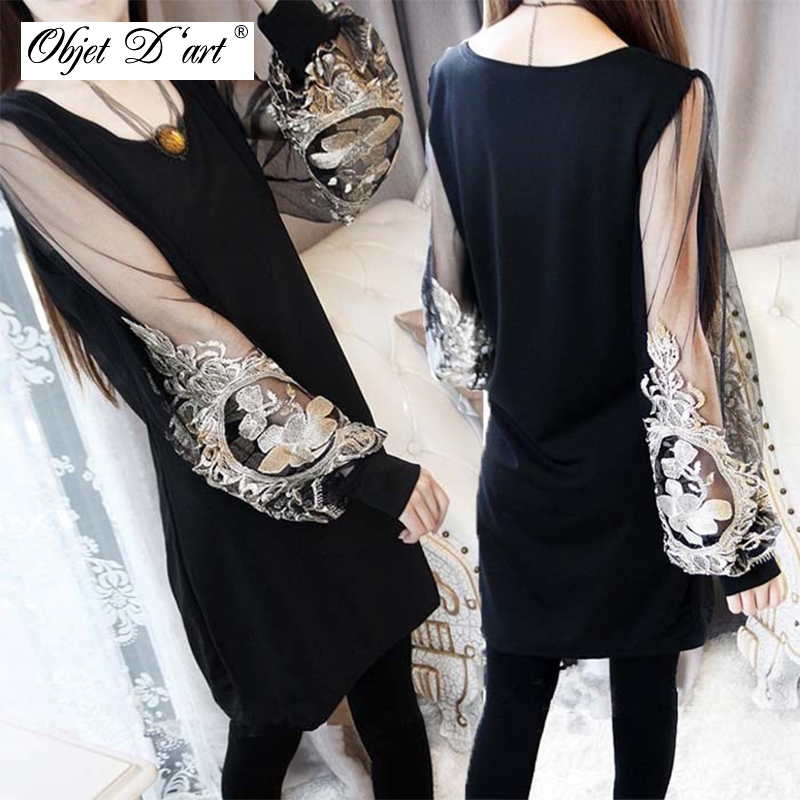 2014 New Arrivals Fashion Inwrought Lace Sex Lantern Long Sleeve Shift Black Dress Платье