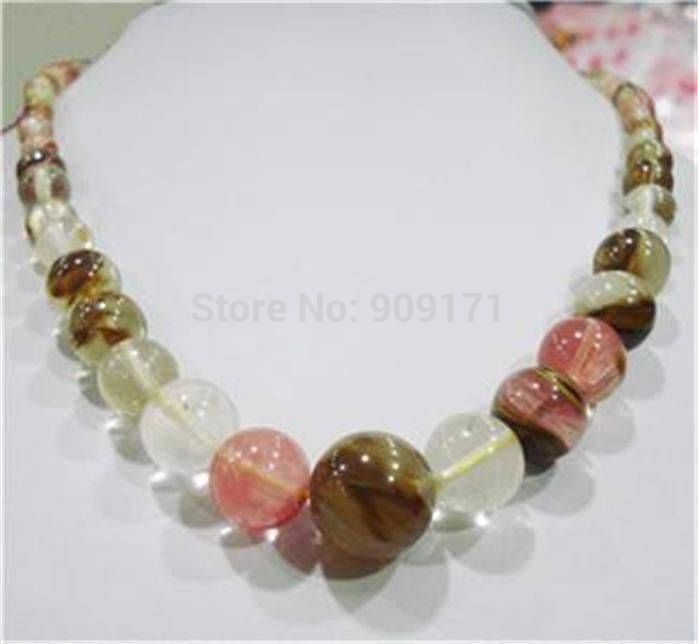 Hot sell ->@@ S>>6-14mm <font><b>Watermelon</b></font> <font><b>Tourmaline</b></font> Gems Round Beads Necklace -Top quality free shipping image
