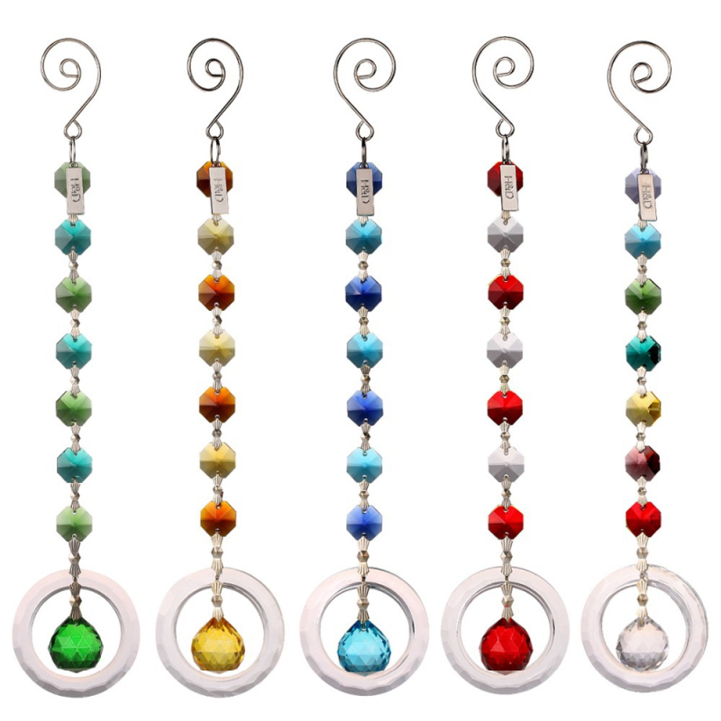 25cm 5pcs H&D Fengshui Round Rainbow Maker Window Pendant Crystal Suncatcher with 20mm Ball Prism Octogon Chakra Suncatcher