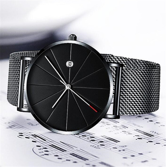 Simple Men's Watch 2019 Stainless Steel Mesh Band Watches Classic Quartz Date Wristwatch Casual Luxury Masculino Relogios