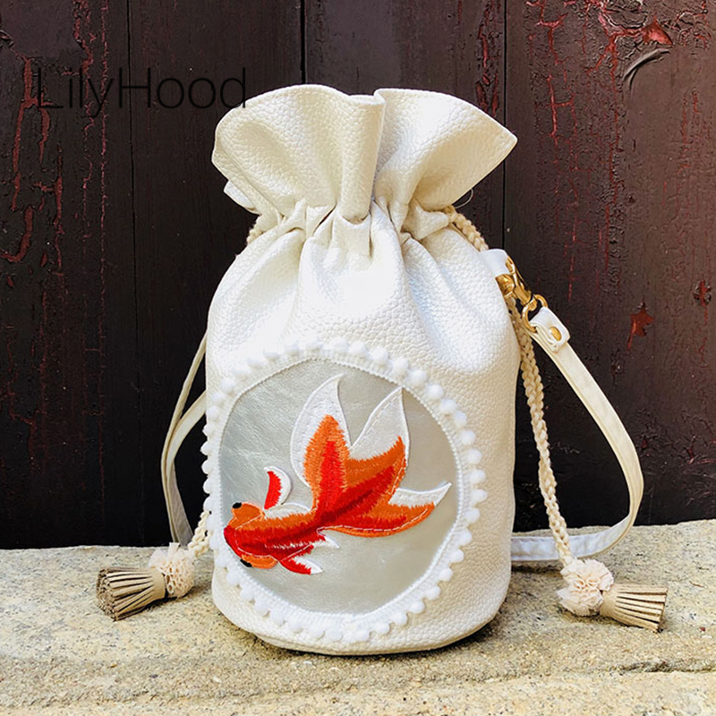 LilyHood Goldfish Embroidery Shoulder Bag 2018 New Female China Style PU Leather Cute Small Beige White Bucket Crossbody Bag cys8893 cute pekingese style car adornment bamboo charcoal bag beige brown