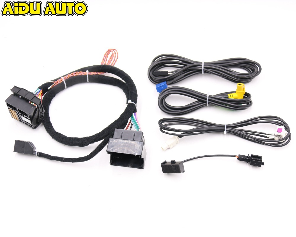 USE FIT FOR Golf 7 MK7 Passat B8 MQB TIGUAN POLO 6C MIB STD2 ZR NAV Discover Pro Radio Adapter Cable Wire harness цена