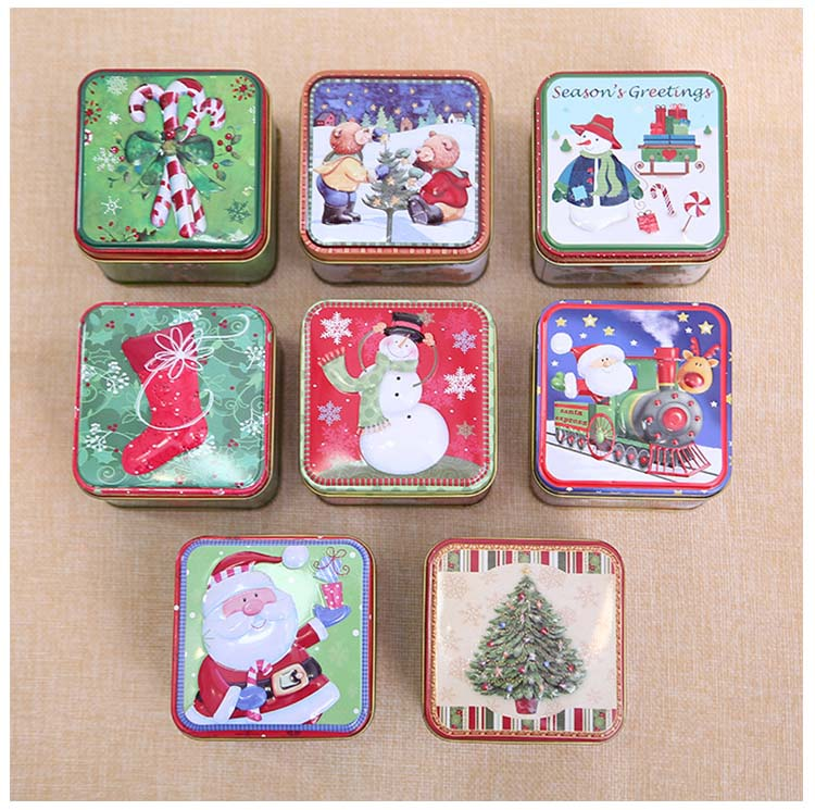 Mini Square Tin Box Sealed Jar Small Storage Cans Baroque For Kid Packing Xmas Candy Box Christmas Coin Gift Box 1pc