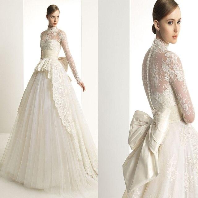 Long Sleeve Lace High Neck Wedding Dress 2016 Zuhair Murad See Through Bow Sash A Line
