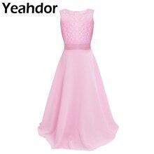 פרחוני תחרה פרח ילדה שמלות שיפון ללא שרוולים שמלת בנות מקסי שמלה לחתונה מסיבת תחרות נסיכת Vestidos נשף