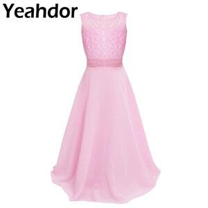 Image 1 - פרחוני תחרה פרח ילדה שמלות שיפון ללא שרוולים שמלת בנות מקסי שמלה לחתונה מסיבת תחרות נסיכת Vestidos נשף