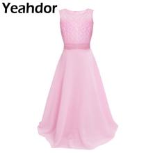 Vestidos da menina da flor do laço floral chiffon vestido sem mangas meninas maxi vestido para festa de casamento pageant princesa vestidos de baile