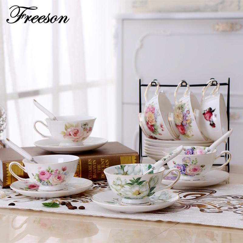 British Brief Bone China Coffee Cup Saucer Set Europe Elegant Ceramic Teacup 200ml Advanced Porcelain Black