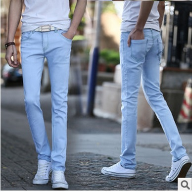 2015 men's Youth popular fashion light blue jeans men feet long pants man Slim waist leisure trousers yl018 - dingding trading store