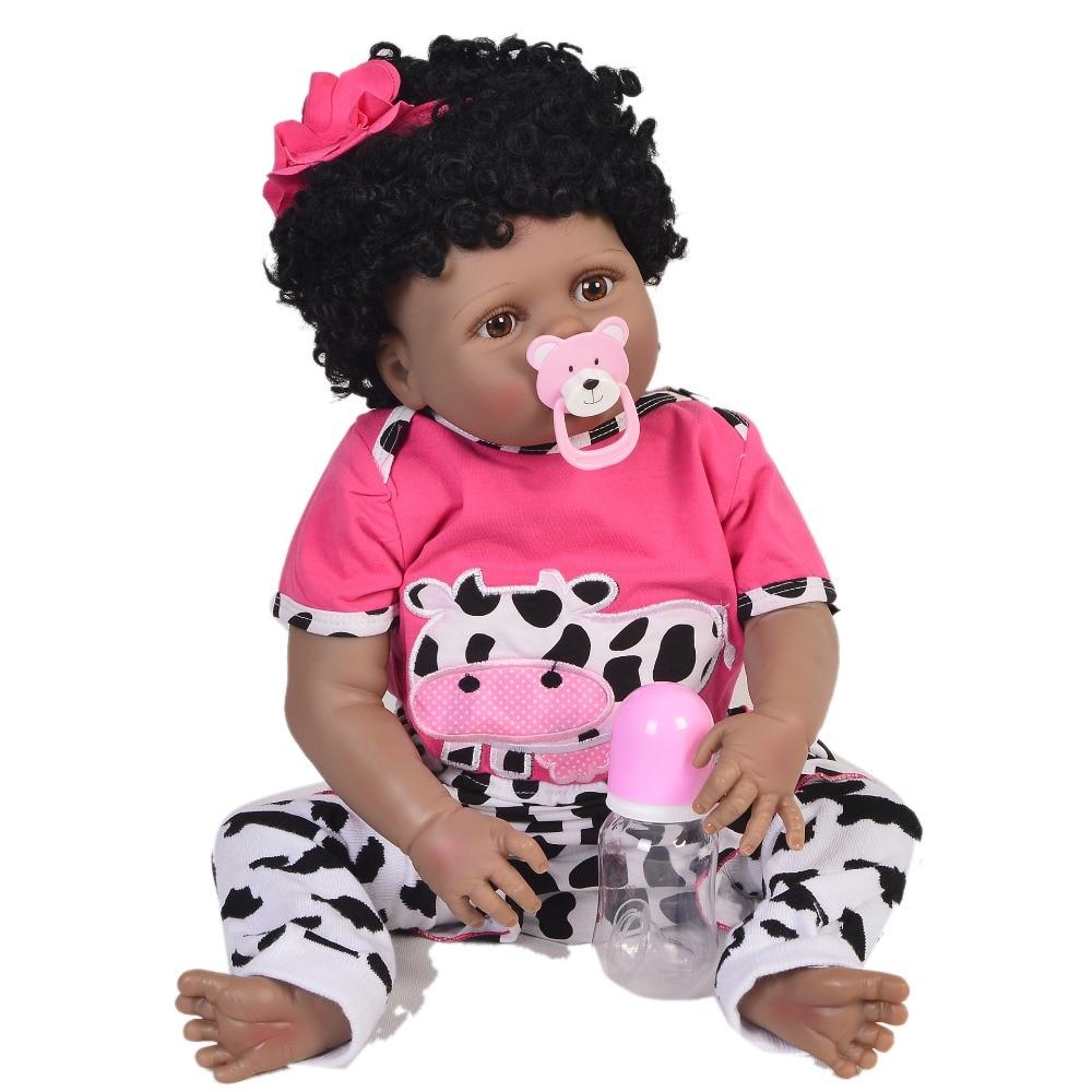 "Bebe realistic Reborn 23""57cm full silicone reborn baby ethnic black doll  african girl bebes reborn menina boneca toys gift"