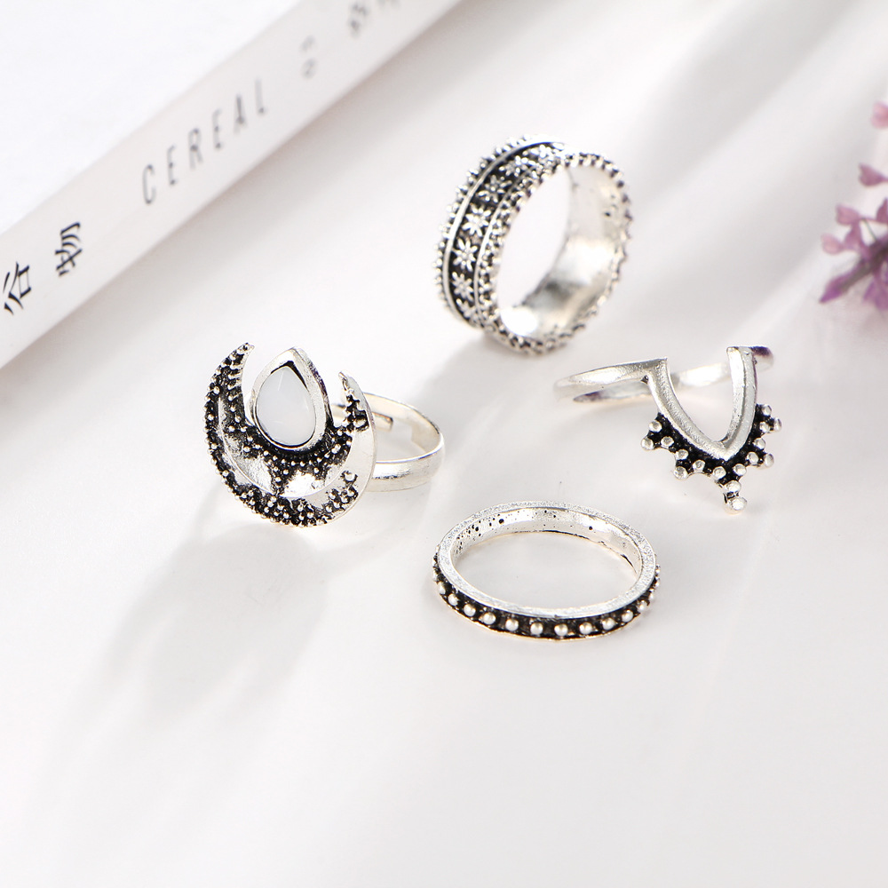 40 Pieces/Set Mid Finger Knuckle Rings Set Antique Silver Color Jewelry For Women Carved Flower Opal Moon Open Ring Adjustable