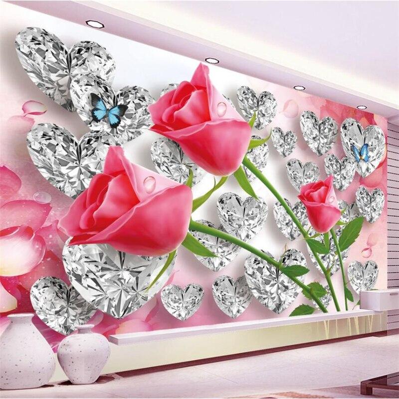 Beibehang Diamond Rose 3D Love Creative Stereo Romantic TV