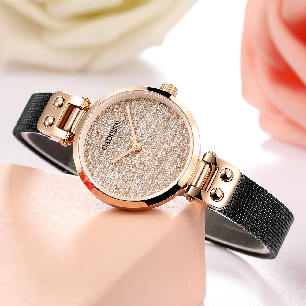 CADISEN 2019 New Women's Watches Ladies Luxury Brand Watch Fashion Lady Quartz Wristwatch Gold Sapphire Crystal Dial Reloj Mujer-in Women's Watches from Watches    3