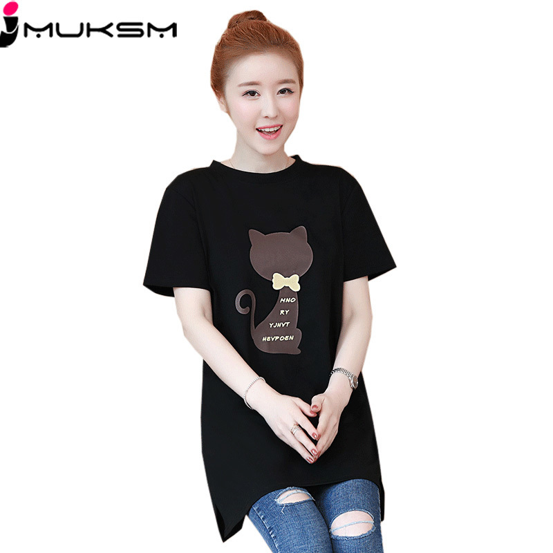 2018 Large size Women T-shirt dress summer Short sleeve Cats print Top Tees Casual O-neck Loose Female Tshirt Plus size 5XL J215 1