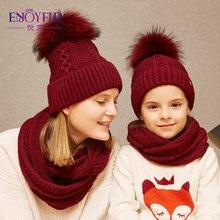 ENJOYFUR зимний шарф, шапка, набор для детей, девочек, женский шарф с шапкой из меха, помпон, родитель-ребенок, пара, семейные шапки для зимы