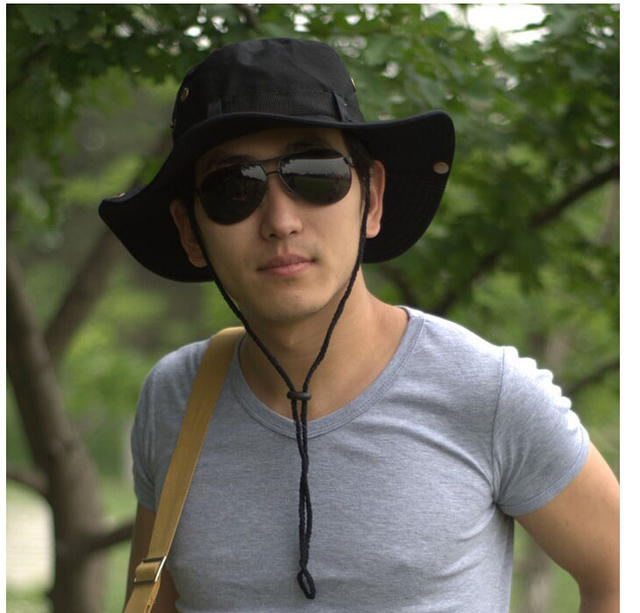 43c48e764ce TFGS NEW Men Women Unisex Hat for Fishing Trekking Camping Hiking Sun Cap  Round Rim Hat (Black)