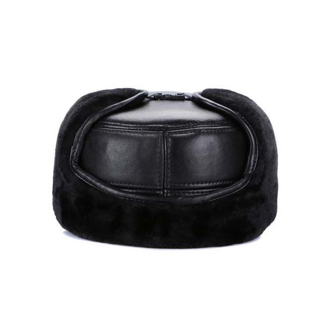 2018 Men Real Genuine Sheepskin Leather Baseball Caps Winter Warm Soft Real Leather Cap Real Natural Sheep Leather Baseball Hat