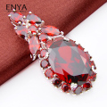 ENYA New Fashion Luxury Garnet Gems Pendant with AAA Zircon Wedding Jewelry Women Pendants Bijouterie P0694